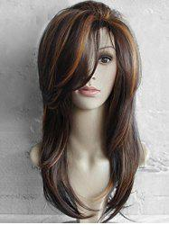Long Inclined Bang Highlighted Natural Straight Synthetic Wig -