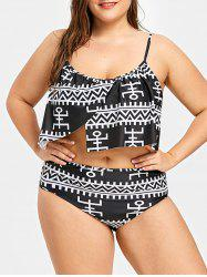 Plus Size Geometric Asymmetrical Overlay Bikini Set -