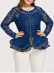 Plus Size Rose Lace Peplum Jacket -