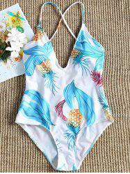 Plunge Pineapple Print Backless Swimsuit -