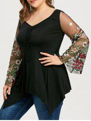 Floral Embroidery Plus Size Tunic T-shirt -