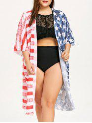 Plus Size American Flag Longline Cover Up -