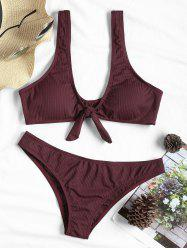 Bowknot Ribbed Bikini Swimsuit -