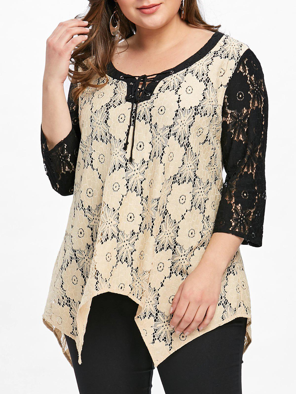 b9fdd799750bf8 38% OFF] Plus Size Floral Crescent Hem Lace Blouse | Rosegal