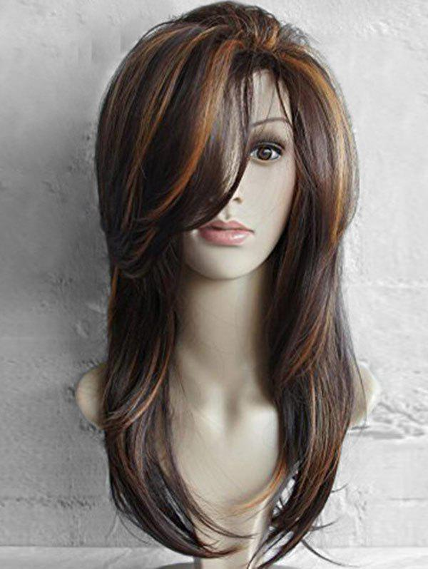 Cheap Long Inclined Bang Highlighted Natural Straight Synthetic Wig