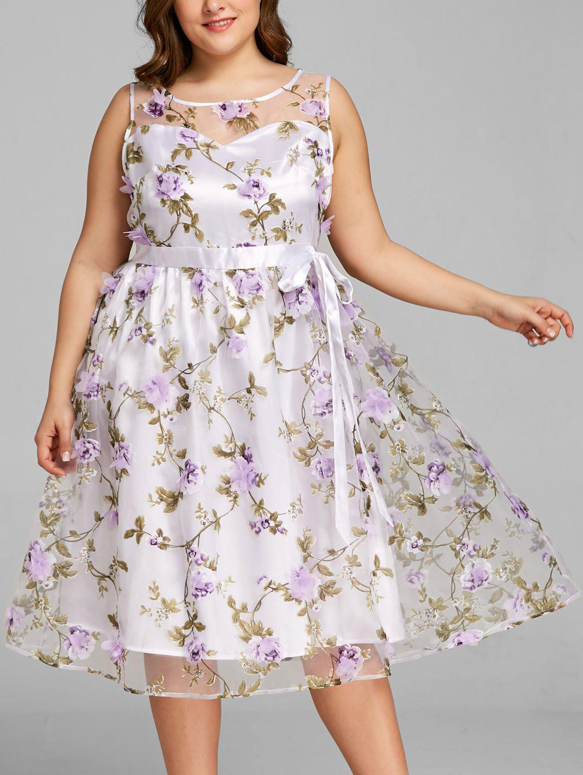 Store Plus Size Stereo Floral Sleeveless Swing Dress