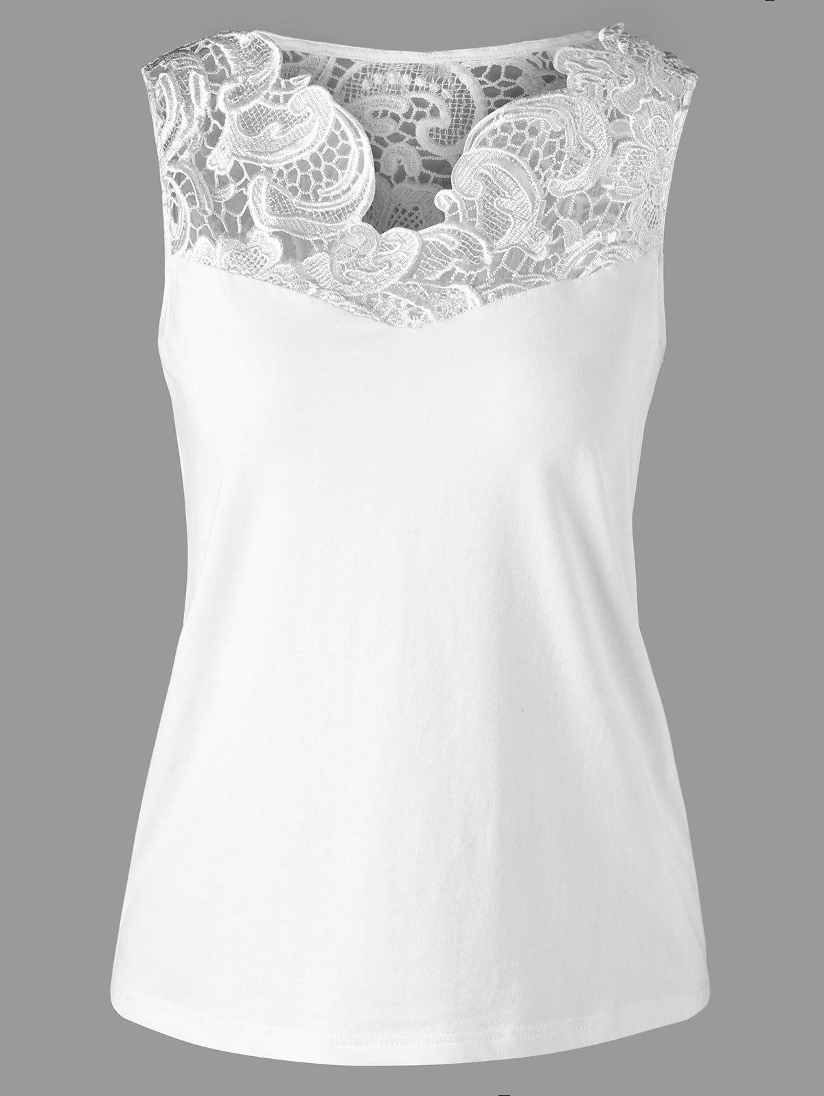 Best Lace Insert Fitted Tank Top
