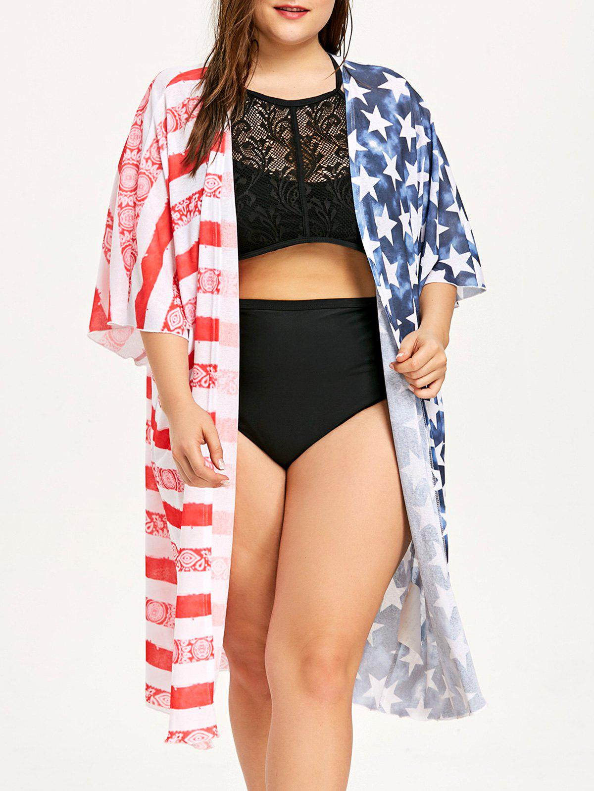 Affordable Plus Size American Flag Longline Cover Up