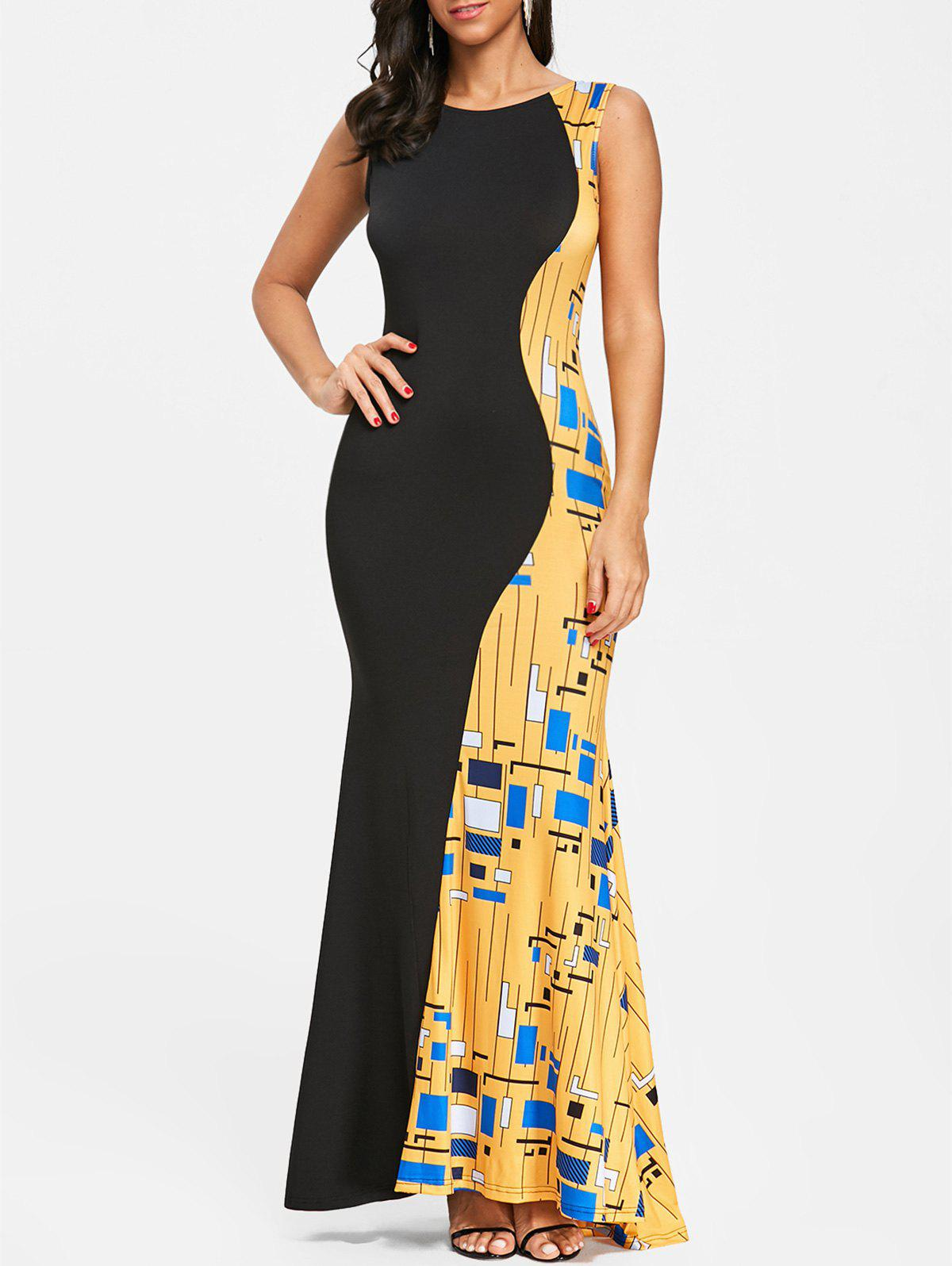 Shops Color Block Printed Long Evening Dress