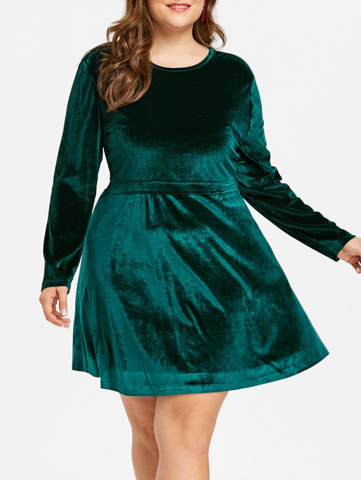 Fashion Plus Size Long Sleeve Velvet Mini Dress