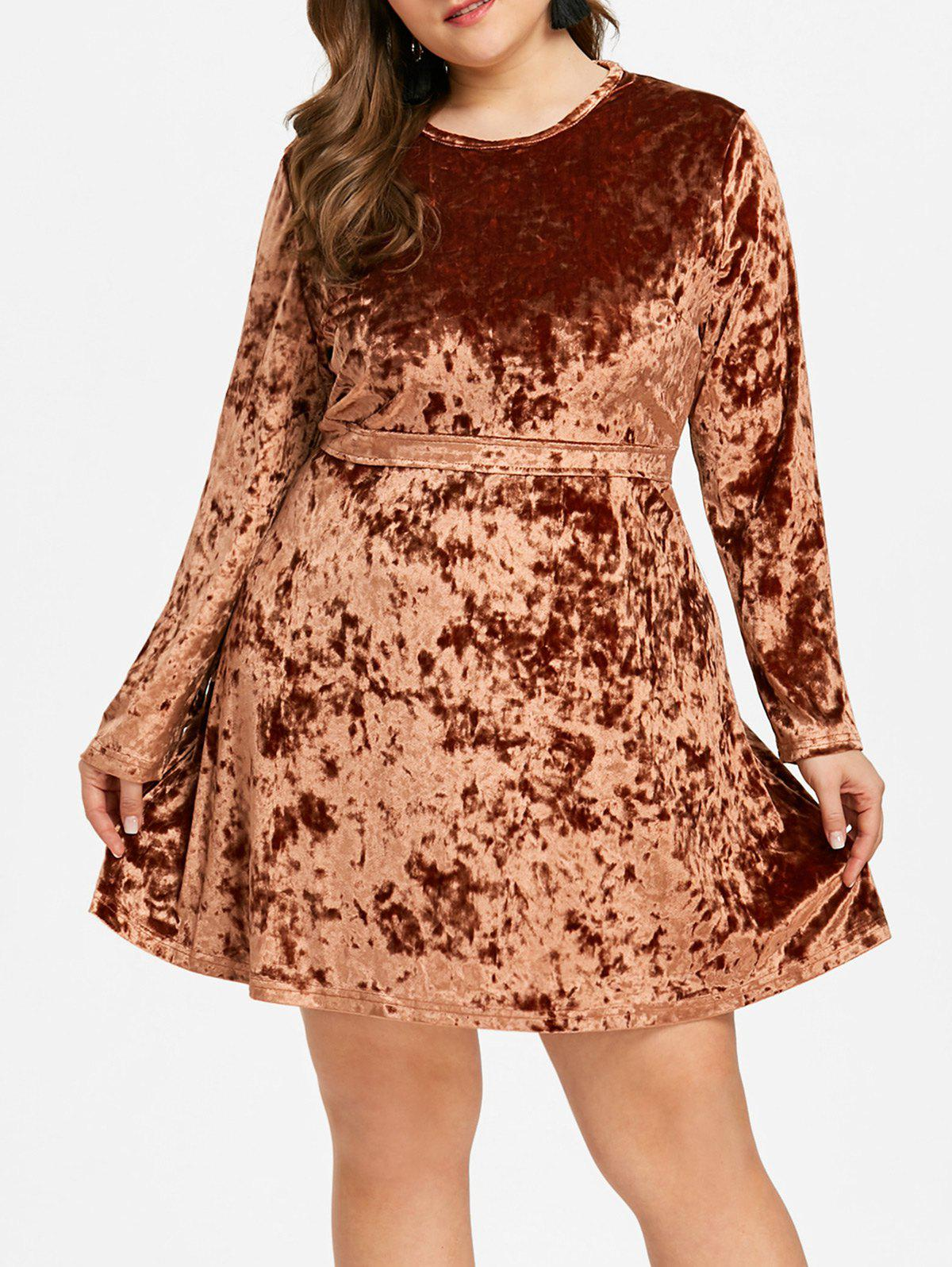 Shop Plus Size Long Sleeve Velvet Mini Dress