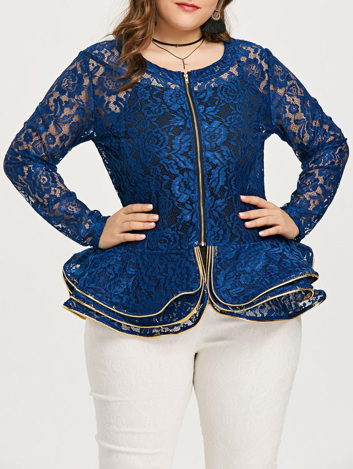 Outfit Plus Size Rose Lace Peplum Jacket