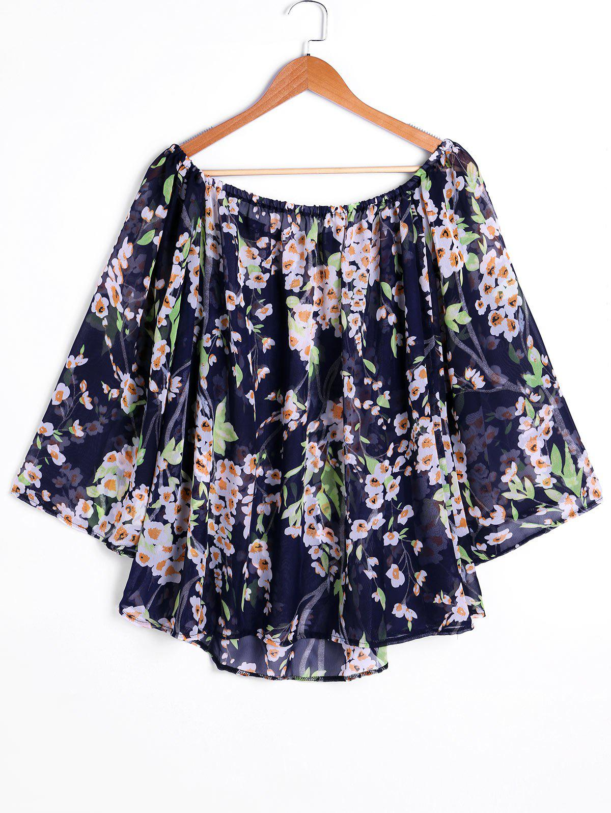 Store Print Off Shoulder Swing Chiffon Blouse