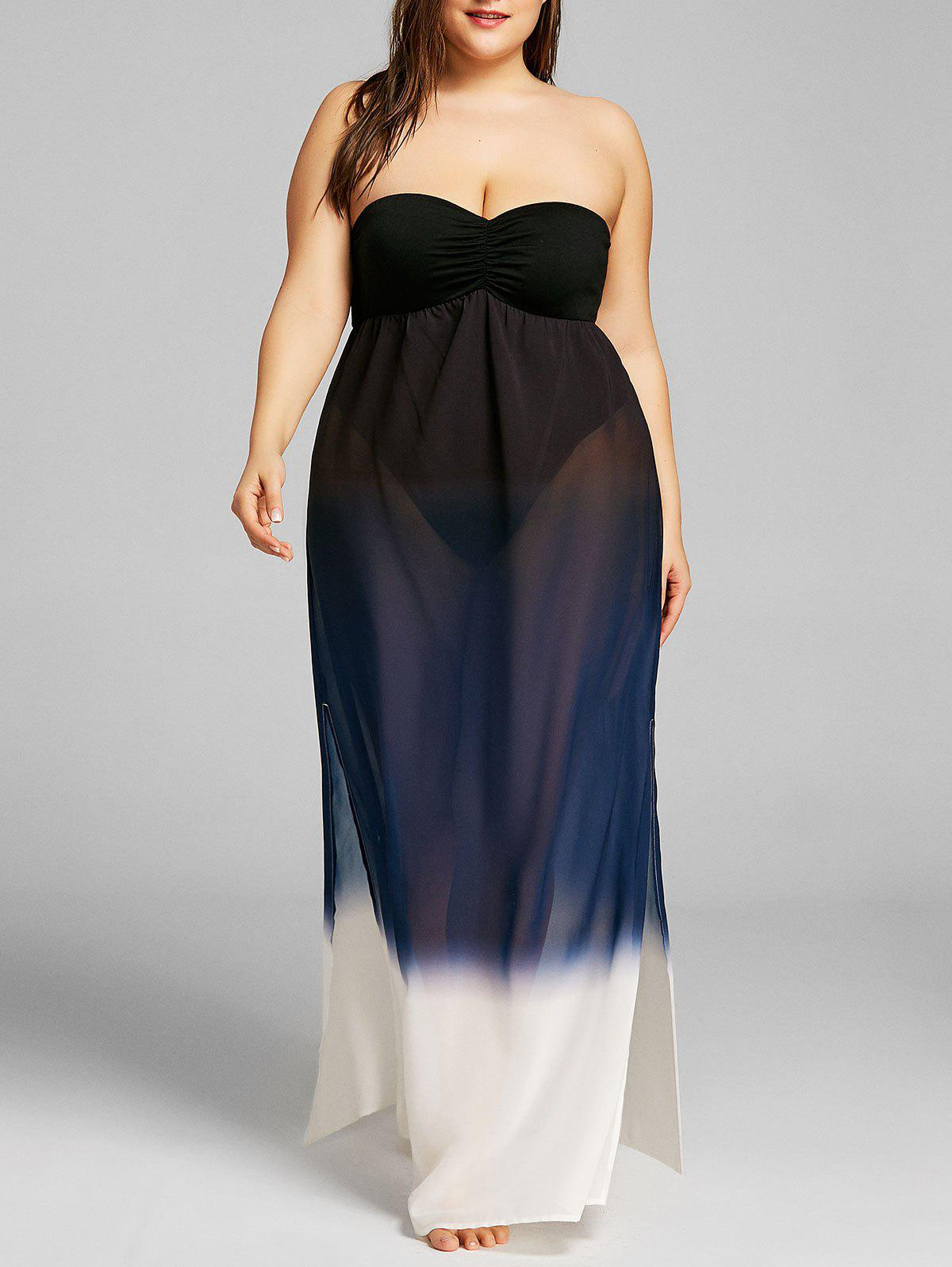 Fancy Plus Size Gradient Color High Split Strapless Dress