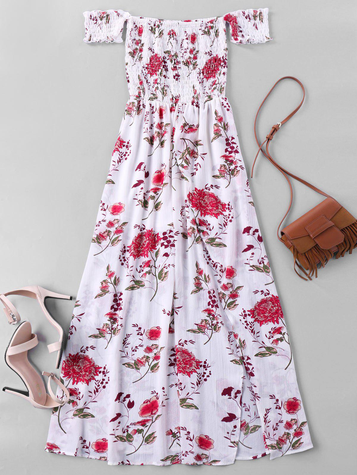 Fancy Off The Shoulder Floral Maxi Dress