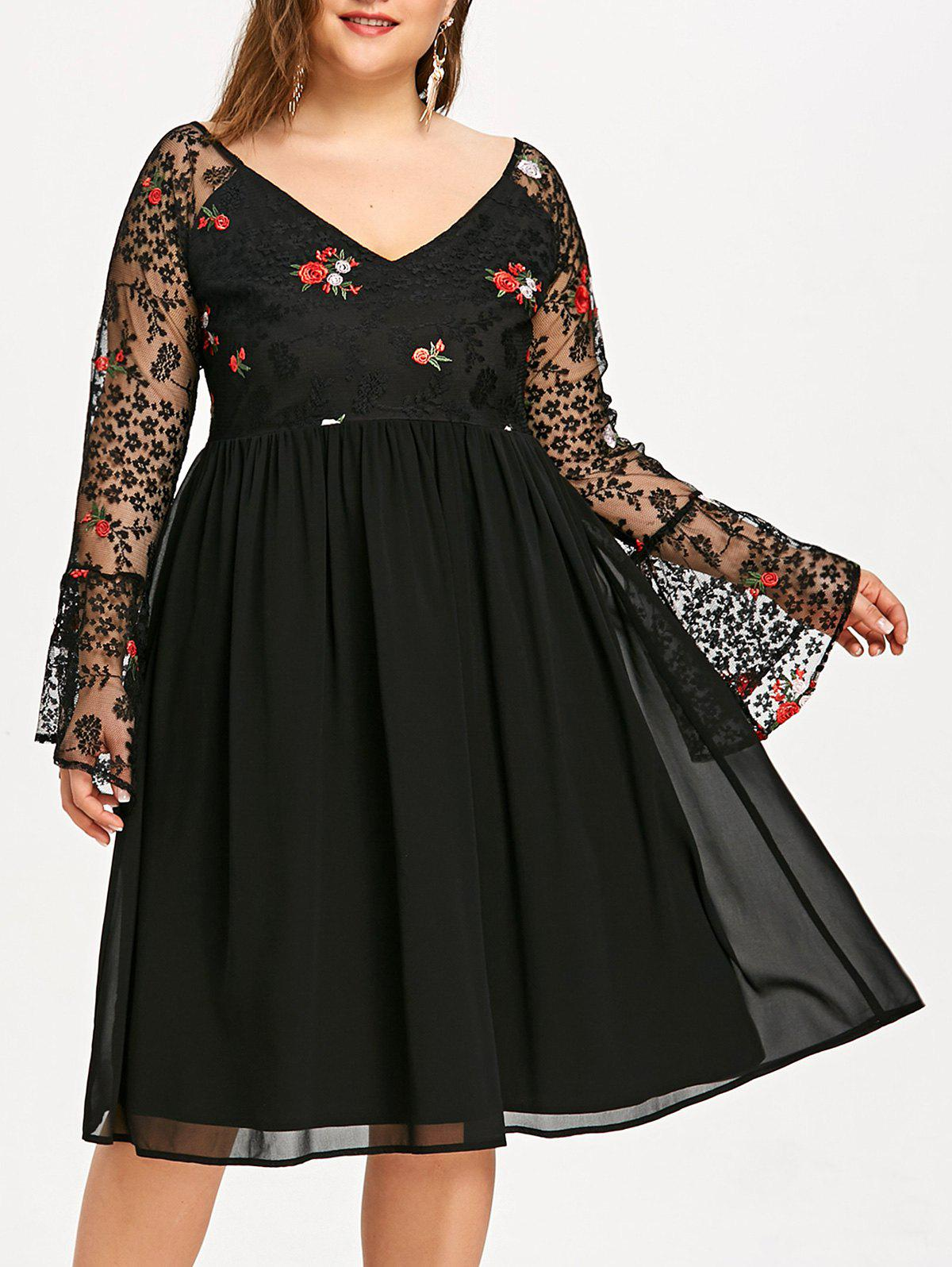 Trendy Embroidery Flare Sleeve Mesh Panel Plus Size Dress