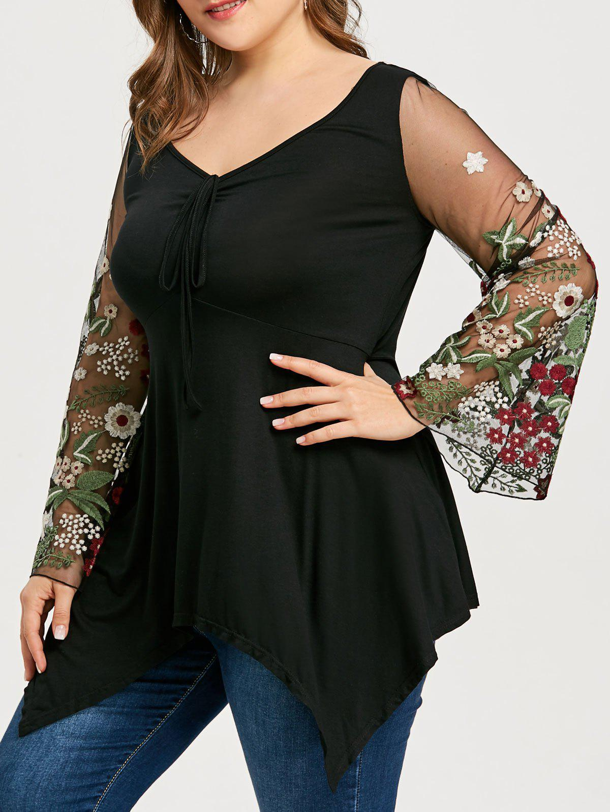 Hot Floral Embroidery Plus Size Tunic T-shirt