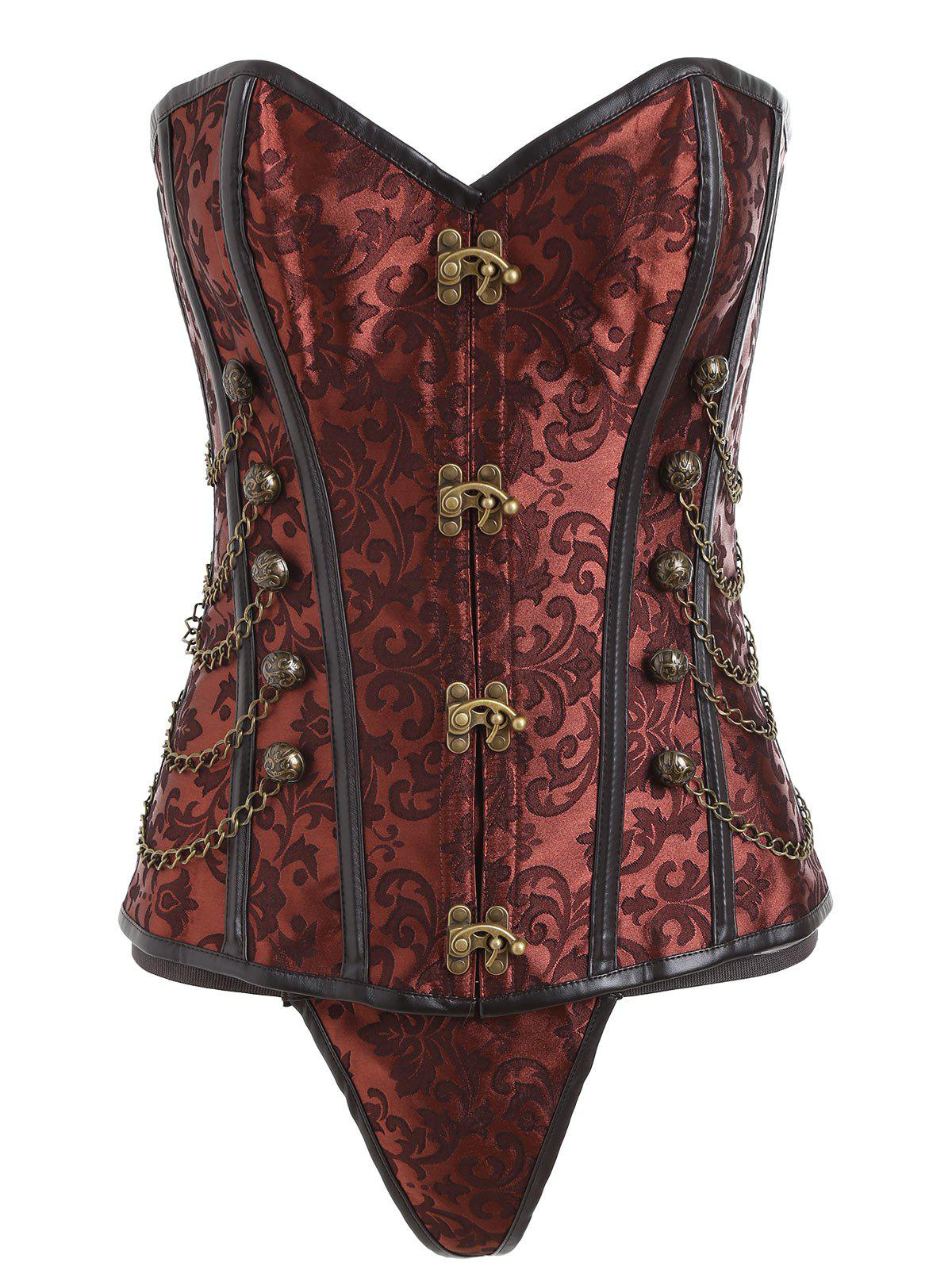 Unique Chains Vintage Brocade Lace-up Corset