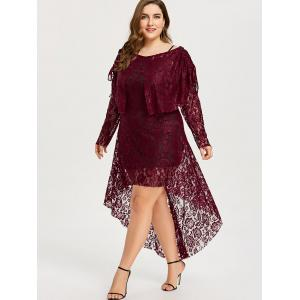 Plus Size High Low Floral Lace Dress -