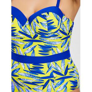 Plus Size Leaf Print Cami Swimsuit -