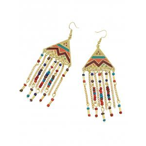 Metalline Triangle Fringed Bead Decorated Drop Earrings -