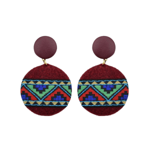African Print Embroidery Circle Dangle Earrings -