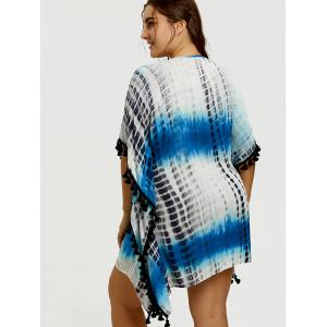 Plus Size Tassel Trimmed Tie Dye Bech Cover Up -