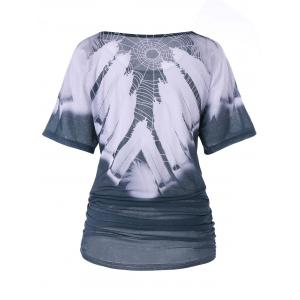 Feather Print Ruched Tunic T-shirt -