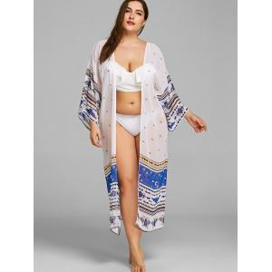 Plus Size Longline Printed Cover Up Kimono -