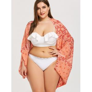 Plus Size Printed Chiffon Beach Cover Up -