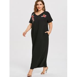Embroidered Plus Size Long Causal Dress -
