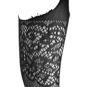 Lace Trim Crotchless Fishnet Tights -