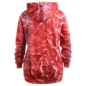 Plus Size 3D Print Drawstring Pork Meat Hoodie -
