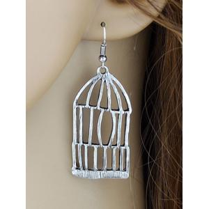 Alloy Bird Cage and Enamel Bird Dangle Earrings -