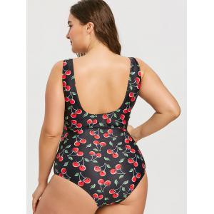 Plus Size Cherry Print High Waisted One Piece Swimsuit -