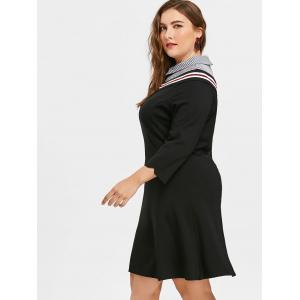 Plus Size Striped Panel Preppy Style Dress -