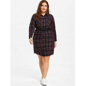 Plus Size Plaid Pocket Shirt Dress -