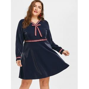 Plus Size Striped Bowknot Embellished Dress -