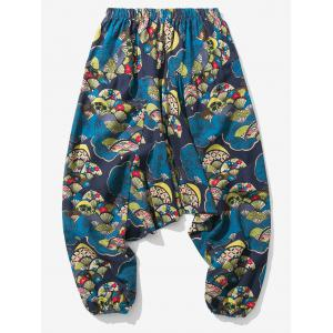 Japanese Fan Print Jogger Pants -