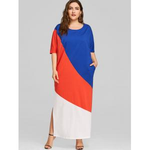 Hit Color Plus Size Slipt Maxi Dress -