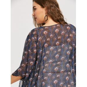 Plus Size Peacock Feather Print Kimono -