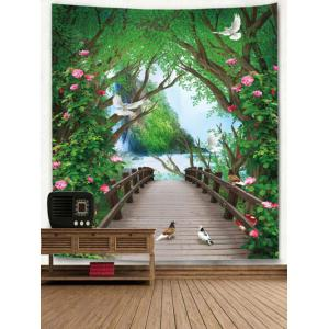 Flowers Forest Bridge Wall Hanging Tapestry -