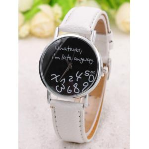 Письма Face Faux Leather Strap Watch -