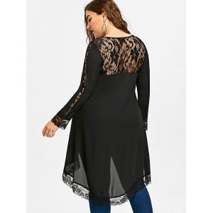 Plus Size Lace Insert High Low Top -