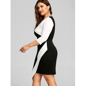 Plus Size Asymmetric Color Block Bodycon Dress -
