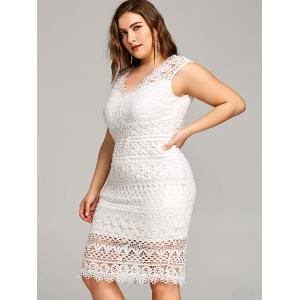 Plus Size V Neck Openwork Lace Dress -