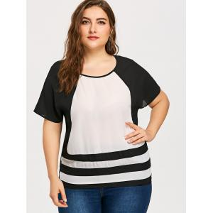Plus Size Color Block Striped Blouse -