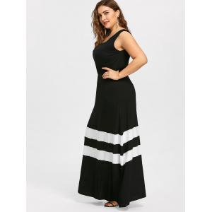 Plus Size Striped Trim Long Flare Dress -