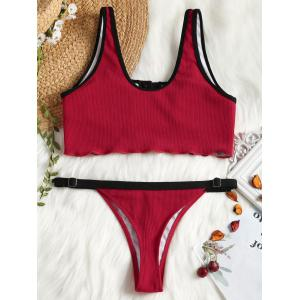 Ribbed Piping Faux Button Sporty Bikini Set -