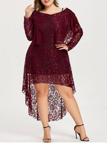 Cheap Plus Size High Low Floral Lace Dress